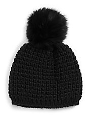 Knit Tuque with Fox Fur Pom Pom