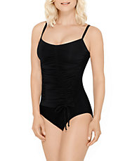 One-Piece Ruched Drawstring Swimsuit