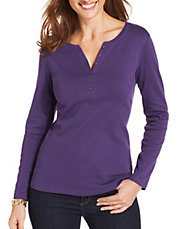 Petite Long Sleeve Cotton Henley Tee