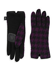 Touch Houndstooth Wool-Blend Gloves