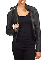 Faux-Leather Zip Bomber Jacket