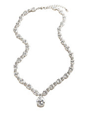 All Around Cubic Zirconia Pear Drop Necklace