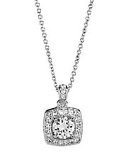 Cushion Cut Cubic Zirconia Pendant with Pave Frame