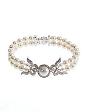 Double Strand Pearl Bow Bracelet