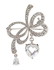 Pave Bow Brooch with Drop Heart