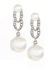 Faux Pearl and Pave Linear Earrings