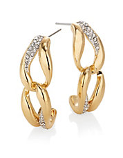 Oval Pave Link Earrings