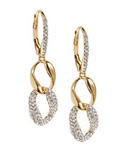 Pave Curb Chain Drop Earrings
