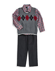 Three-Piece Argyle Corduroy Set
