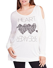 Heart Print Cold Shoulder Top