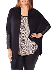 Open-Front Cardigan with Faux-Leather Sleeves