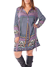Printed Half-Button Shift Dress