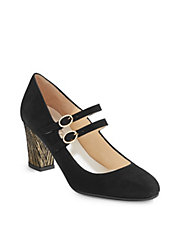 Double Strap Velvet Mary-Jane Pump