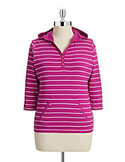 Plus Striped Button-Neck Hoodie