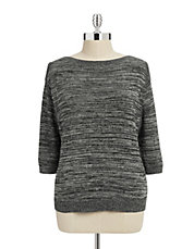 Plus Marled Knit Boat-Neck Sweater