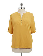 Plus Chevron Eyelet Tunic