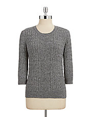 Plus Marled Knit Cable Sweater