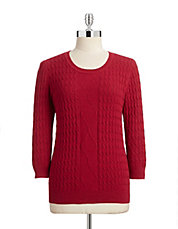 Plus Marled Cable Knit Sweater