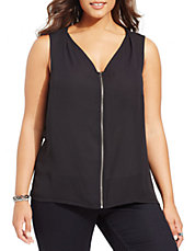 Plus  Zip-Front Sleeveless Blouse