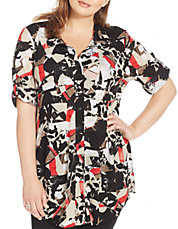 Plus Geo-Print Tunic Shirt