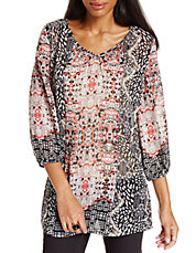 Plus Mixed-Medallion Chiffon Tunic