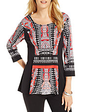 Plus Geometric Print Flared-Hem Top