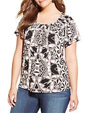 Plus Pleated Geo-Print Tee