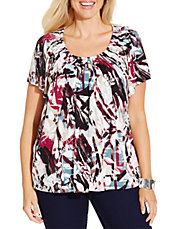 Plus Pleated Neck Print Tee