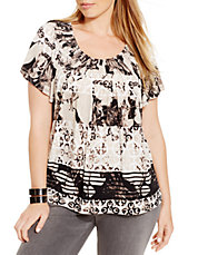 Plus Printed Pleat-Neck Tee