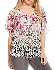Plus Printed Chiffon Blouse