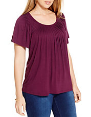 Plus Pleat Neck Tee