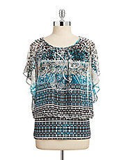Petite Printed Flutter Band Top