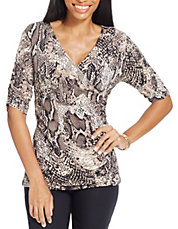 Petite Printed Ruched Surplice Top