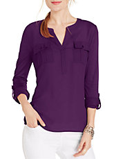 Petite Split Neck Roll-Tab Shirt
