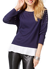 Petite Stud Trim Layered Hem Top