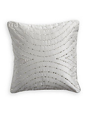 Silver Silk-Blend Throw Cushion