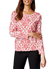 Petite Long-Sleeve Printed Top