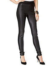Faux Leather-Trimmed Leggings