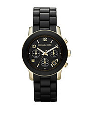 Women's Gold Case Black Polyurethane Strap Watch