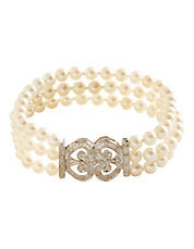 14K White Gold Multi-Strand 6Mm Pearl Bracelet With 0.15Tw Diamonds