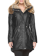 Lauren Zip Front Parka with Faux Fur