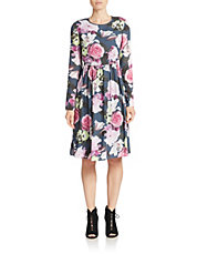Nocturnal Floral Print Dress