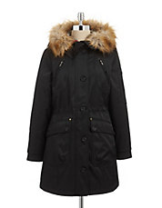 Essential Utility Parka with Faux Fur Trim