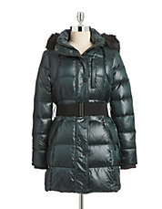 Iridescent Belted Down Jacket