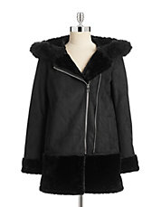 Asymmetric Zip Front Shearling Coat
