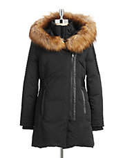 Faux Fur and Leather Trim Walker Coat