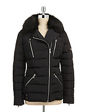 Asymmetrical Zip Moto Down Jacket