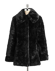 Faux Crushed Rabbit Fur Walker Coat