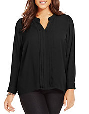 Plus Pleat-Front Blouse
