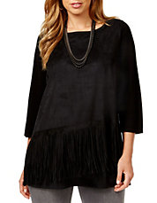 Plus Diagonal-Fringe Moleskin Tunic